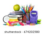 books and a colorful assortment ... | Shutterstock . vector #674202580