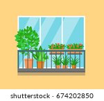 flat balcony decorated with... | Shutterstock .eps vector #674202850