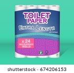 white toilet paper pack design... | Shutterstock .eps vector #674206153