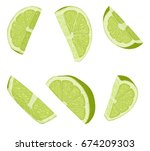 lime slices. realistic vector... | Shutterstock .eps vector #674209303