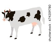 adult cow with black spots... | Shutterstock .eps vector #674209780