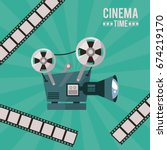 colorful poster of cinema time... | Shutterstock .eps vector #674219170