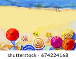 painting watercolor seascape... | Shutterstock . vector #674224168