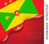 grenada flag on creamy liquid... | Shutterstock .eps vector #674227510