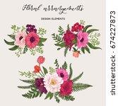flower arrangement with peonies ... | Shutterstock .eps vector #674227873