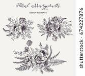 flower arrangement with peonies ... | Shutterstock .eps vector #674227876