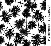 seamless black coconut trees... | Shutterstock .eps vector #674228299