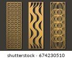 laser cut template panels set.... | Shutterstock .eps vector #674230510