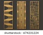 laser cut template panels set.... | Shutterstock .eps vector #674231224
