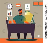 freelance or remote worker in... | Shutterstock .eps vector #674239624
