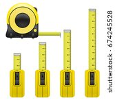 realistic detailed measure tape ... | Shutterstock .eps vector #674245528