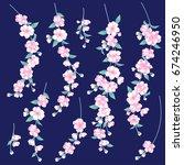 japanese style cherry blossom  | Shutterstock .eps vector #674246950