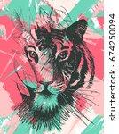grunge tiger under leaves.... | Shutterstock .eps vector #674250094