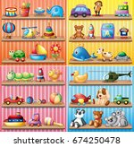 different types of toys on the... | Shutterstock .eps vector #674250478