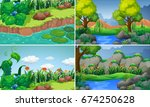 four scenes with river and... | Shutterstock .eps vector #674250628