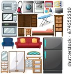 different types of home... | Shutterstock .eps vector #674253310