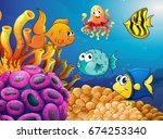 sea animals swimming under the... | Shutterstock .eps vector #674253340