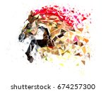 Stock photo horse low polygon in watercolor filter multi color horse in action power active horse 674257300