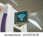 wifi hotspot in airport | Shutterstock . vector #674257678