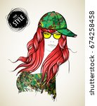 a girl in a camouflage baseball ... | Shutterstock .eps vector #674258458