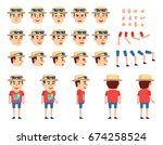 tourist in summer suit creation ... | Shutterstock .eps vector #674258524