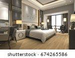 Stock photo  d rendering luxury modern bedroom suite in hotel 674265586