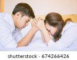happy love couple holding hands ... | Shutterstock . vector #674266426