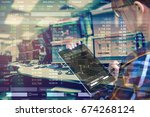 double exposure of business... | Shutterstock . vector #674268124