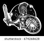 spartan warrior holding sword... | Shutterstock .eps vector #674268628