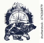 bear double exposure  compass ... | Shutterstock .eps vector #674268979