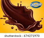 splashing chocolate sauce with... | Shutterstock .eps vector #674271970