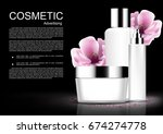 cosmetic set with pink blooming ... | Shutterstock .eps vector #674274778