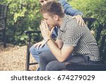guys sharing life problems... | Shutterstock . vector #674279029