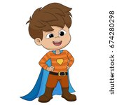 boy wearing superhero costume... | Shutterstock .eps vector #674280298