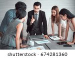 manager discussing work with...   Shutterstock . vector #674281360