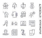 real estate. set of outline... | Shutterstock .eps vector #674283679