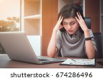 stressed young businesswoman... | Shutterstock . vector #674286496