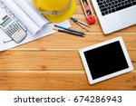architect desk project in... | Shutterstock . vector #674286943