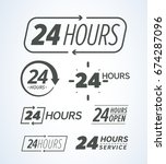24 hours icons collection | Shutterstock .eps vector #674287096