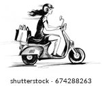 girl on a scooter spot drawing  | Shutterstock . vector #674288263
