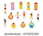 top view of people swimming in... | Shutterstock .eps vector #674292184