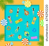swimming pool top view beach... | Shutterstock .eps vector #674292220