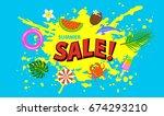 summer time sale banner...   Shutterstock .eps vector #674293210