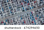 aerial view new cars lined up... | Shutterstock . vector #674294650