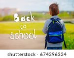 child going back to school with ... | Shutterstock . vector #674296324