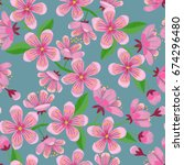 cherry blossom embroidery... | Shutterstock .eps vector #674296480