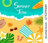 summer time beach vacation... | Shutterstock .eps vector #674299684