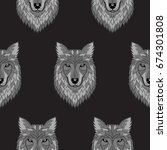 embroidery wolf grayscalel head ...