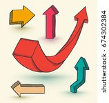 3d arrows drawn set. vector... | Shutterstock .eps vector #674302384