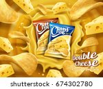 Two packs of chips dropped into cheese sauce in 3d illustration | Shutterstock vector #674302780